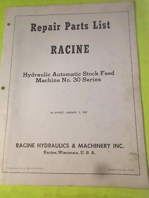 Racine 30 Series Hydraulic Hack Saw Automatic Stock Feed Repair Parts List #1564