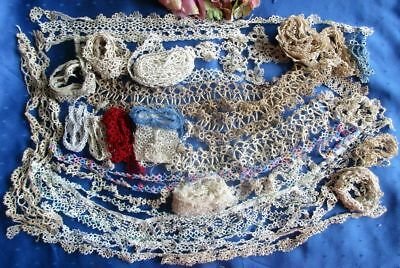 Huge Antique/vintage Lot Of Finely Detailed Cotton Tatted Lace~Some Long Lengths