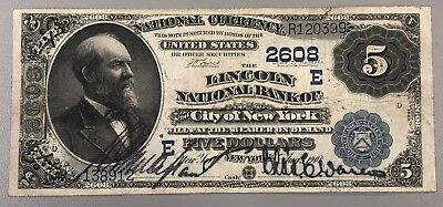 1882 $5 Date Back The Lincoln National Bank of the City of New York NY Very Fine