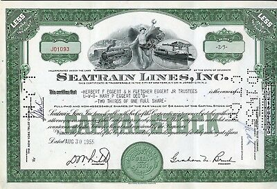 Seatrain Lines, Inc. Capital Stock 2/3 Share Stock Certificate 1955 As Shown