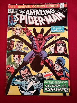 the AMAZING SPIDER-MAN #135 (2nd appearance of the Punisher) w/ Marvel Stamp
