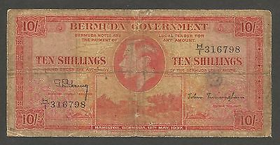 Bermuda 10 Shillings 1937; G+; P-10; L-B110b; King George VI; Fort; SCARCE