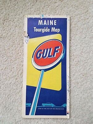 1950s Gulf Oil Maine Tourguide Map