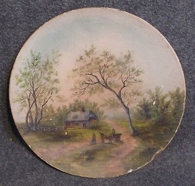 Very Old Estate Painted Wood Plate Antique