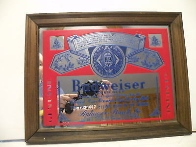 Budweiser Lager Beer King of Beers Sign Mirror Man Cave 9x12