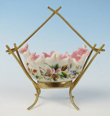 19thC. Victorian Enameled Glass Ormolu Mounted Dresser Dish Bowl Antique French