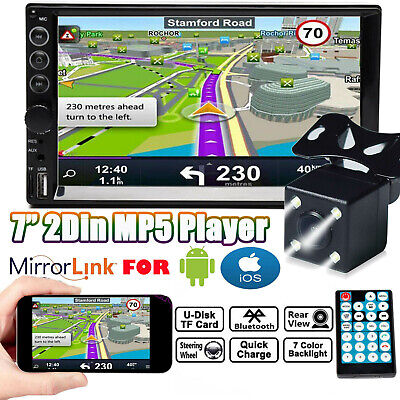 """Double 2Din Car Stereo With Backup Camera Bluetooth Radio 7"""" Mirror Link For GPS"""