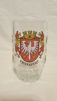 Frankfurt  German Crest Dimpled Clear Glass Beer Stein