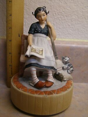 "Norman Rockwell Schmid Cindrella Music Box Plays ""tomorrow"" Approx. 6"" Tall"