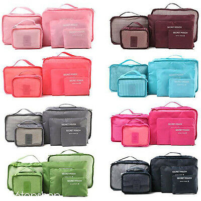 6pcs Durable Travel Storage Bags Luggage Organizer Pouchs Packing Cube Polyester