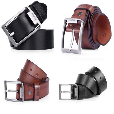 1PC Luxury Mens Leather Single Prong Belt Business Casual Dress Metal Buckle
