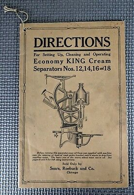 Sears Roebuck and Co. - Economy King Cream Separator Operating Directions