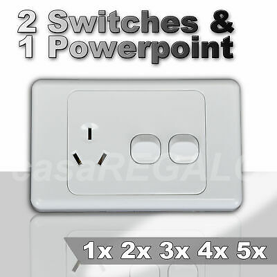 10A Amp 250V Power Point Wall Socket Double switch outlet GPO light switch Plate
