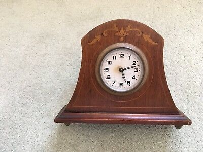 Antique  Mahogany Inlaid Mantel  Clock Working Order