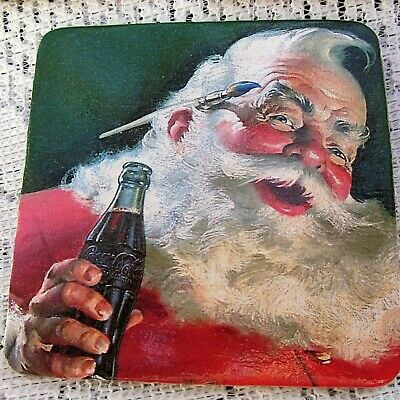 Coca Cola Santa Claus Drink Coasters  COKE  Cork Backing  Set of 6  Christmas