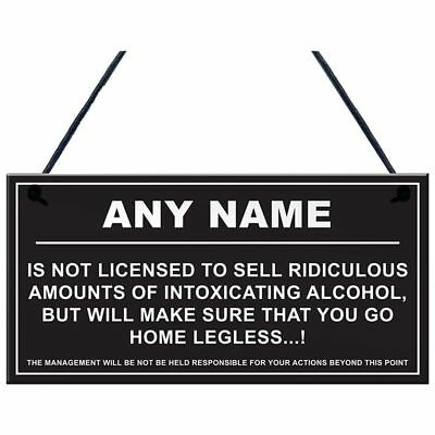 Personalised Man Cave Sign Home Shed Pub Bar Licensee Funny Alcohol License J5B9