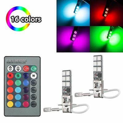 2Pcs H3 5050 RGB 12SMD LED Auto Car Headlight Fog Bulb Lights Remote Control