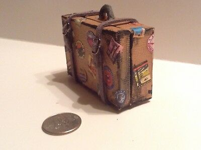 Miniature Tan Suitcase Travel Labels Handmade 1:12 Dollhouse
