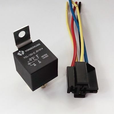 New 40A 12V 5 Pin SPST Car Auto Relay With 4 Wires Harness Socket For Car Alarm