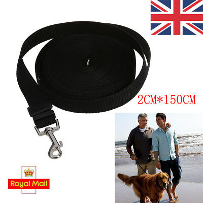 UK Dog Puppy Pet Walking Training Lead 15M/ 50ft Long Line Black Collar Harness
