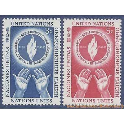 Timbre collection ONU New-York N° Yvert et Tellier 21/22 Neuf sans charnière