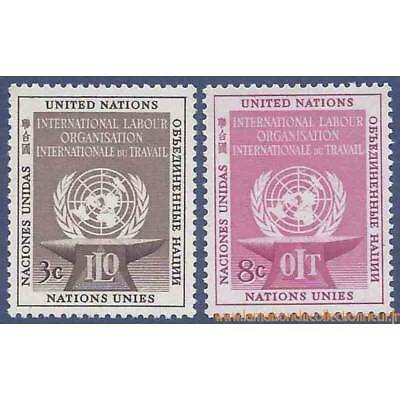 Timbre collection ONU New-York N° Yvert et Tellier 27/28 Neuf sans charnière