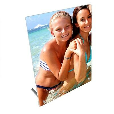 """Personalised Photo, Design Added 5"""" x 7"""" Toughened Glass Panel With Peg Stand"""