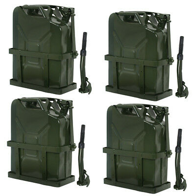4x Jerry Can Fuel Tank w/ Holder Steel 5Gallon 20L Nato Style Military Green