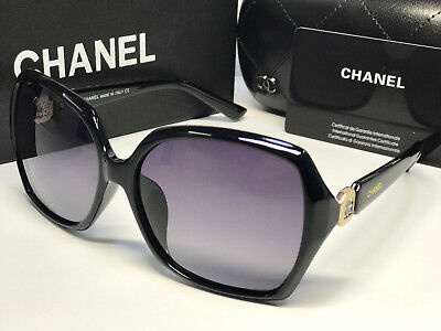 PolarizedEmbellished¹Chanel¹OversizedSunglassesChanel¹Black/GrayGoldLogo2108new