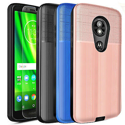 For Motorola Moto G6/G6 Plus/Play/E5 Play Shockproof Case Cover + Tempered Glass