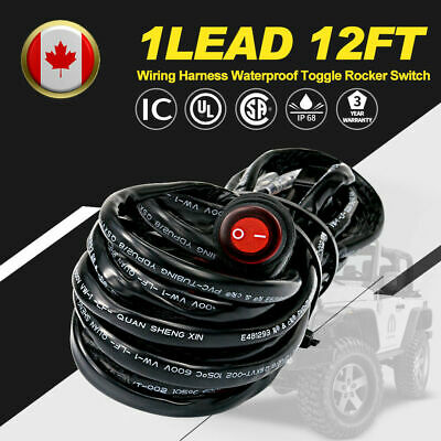 LED light Bar Pod Wiring Harness 12V 40A Relay Fuse Switch Kit Driving Lamps US