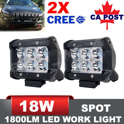 18W Pair 4 inch CREE LED Spot Light Bar Offroad Fog ATV SUV Jeep Driving Lights