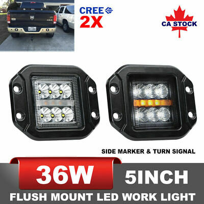 36W 2x 5 Inch Flush Mount CREE LED Work Light FLOOD Reverse Truck Trailer UTE 4""