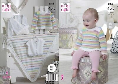 KINGCOLE 5296 BABY 4ply KNITTING PATTERN  14-22IN -not the finished garments