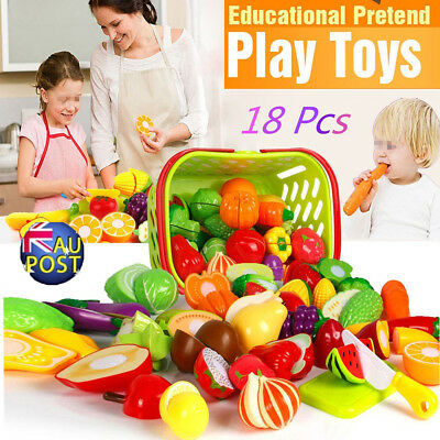 18xKid Child Pretend Role Play Kitchen Fruit Vegetable Food Toy Cutting Set MN