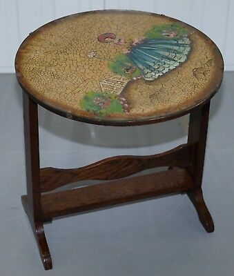 Rare English Oak Tilt Top Side Table With Hand Painted Picture Glass Case Lovely