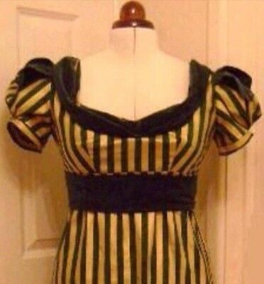 Jane Austen Regency Gold Striped Dress, Made To Measure, Colour Options