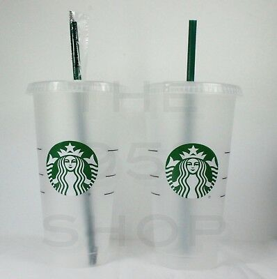 Lot of 2 Starbucks Reusable Venti 24 fl oz Frosted Ice Cold Drink Cup 2018
