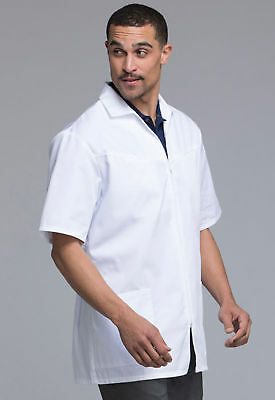 Cherokee Men's Zip Front Jacket Scrubs White Medium