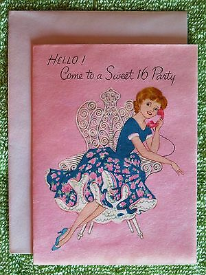 Vintage Birthday Card Mcm Young Lady Teen Girl Glitter Hair Fancy