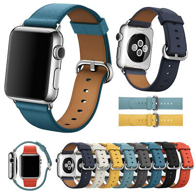 Leather Watch Band Strap Bracelet +Classic Buckle for Apple Watch Series 4 3 2 1