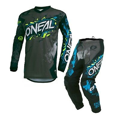 Oneal 2019 Element KIDS Villain MX Motorbike Jersey and Pants Set GREY