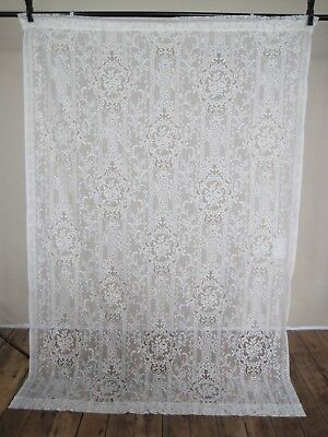 "Curtain Lace Panel Damask Flowers Floral 52"" W x 76"" L Victorian Vintage Ivory"