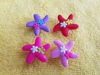 FLOWERED STARFISH shoe charms/cake toppers!! Set of 4!! FAST FREE USA SHIPPING!
