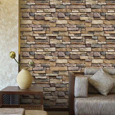 3D Wall Paper Brick Stone Effect Self-adhesive Wall Sticker Wallpaper Room HF