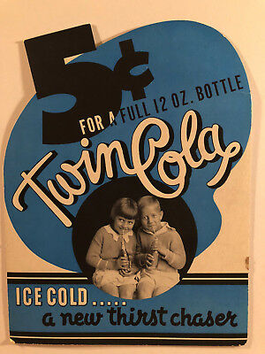 Vintage Original 'Twin Cola - Ice Cold..... a new thirst chaser' Cardboard Sign