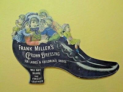 Antique Victorian FRANK MILLER'S CROWN DRESSING PAPER DIE CUT PROMOTIONAL