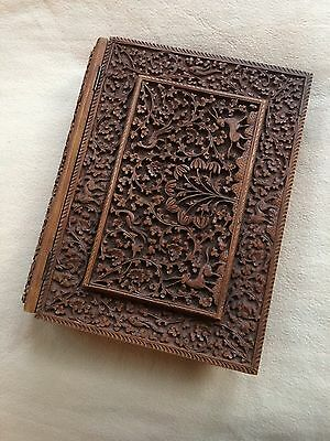 Antique Sandalwood Anglo Indian Deeply Carved Book Cover Document Case.1890.
