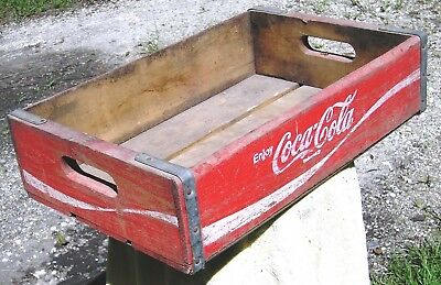 "Red Wooden ""enjoy"" Coca-Cola Coke Case, Basic Open Crate"