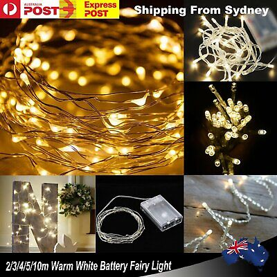 2/3/4/5/10m Warm White Battery Fairy Light Powered Operated String Lights Party